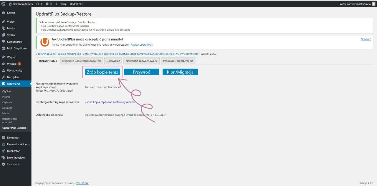 tworzenie kopii zapasowej strony na wordpress